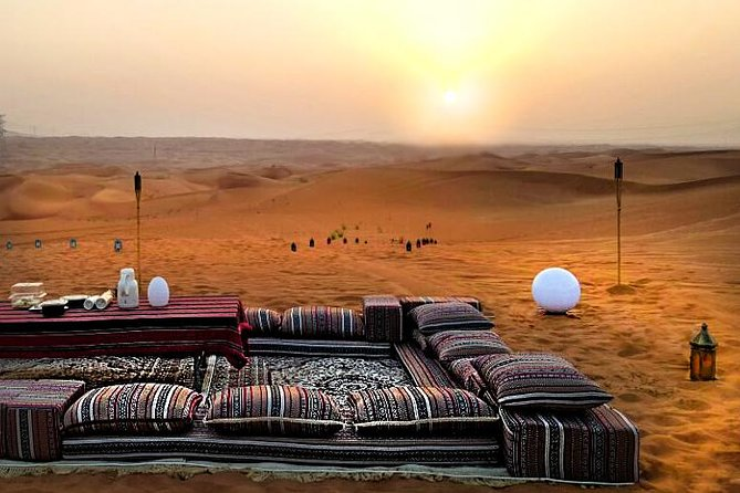 Enjoy a relaxing escape for the entire family and friends in our sunset lounge set up in the middle of the desert. Vistas of the desertscape and the surrounding peaks of Faya and Fossil Rock add to the spectacle.<br><br>The evening starts off with a beautiful sunset view, followed by a trekking experience of the mountain and a BBQ dinner under the stars. Also includes observing deep sky objects through our telescope with an expert. Short off-road dune drive included in package.<br><br>Further enhance your experience with our thrilling buggy night adventure that can be booked on site.