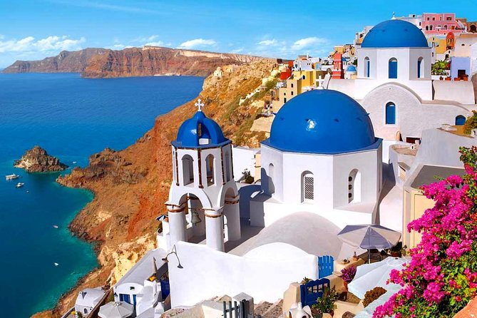 Explore magical Santorini on this Private Sightseeing Tour. After a convenient hotel, airport, or port pickup, craft your dream itinerary with a knowledgeable local guide and visit sites like the picturesque village of Oia, the beautiful Blue Dome Church, the Black and Red beaches. Enjoy a delicious glass of wine at a local winery and capture panoramic photos from Prophet Elias Monastery.