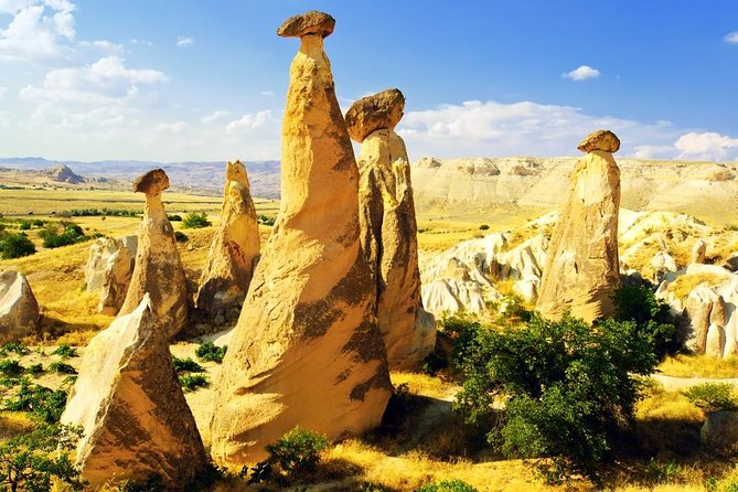 See some of the best of southern Cappadocia on this full-day tour from Istanbul, including round-trip transfers, flight and lunch. Explore this strange-but-beautiful UNESCO-listed region with its 'fairy chimney' rock pillars, cave villages and subterranean cities. Walk through stunning Rose Valley; Zelve into Kaymakli Underground City; see the abandoned village of Çavuşin, and ogle Ortahisar Castle and Pigeon Valley, with its rock dovecotes.<br><br>Enjoy in-depth attention from your guide on this small-group tour limited to 20 people.