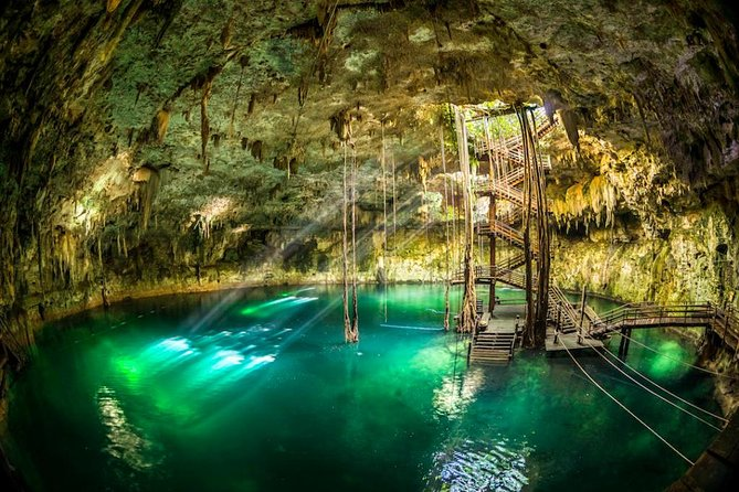 Explore the majestic Cenote Maya, with the largest dome in the Yucatan Peninsula. You can swim in this natural jewel and enjoy some adventure activities. Discover the Mayan culture, participate in an authentic blessing ceremony and enjoy traditional buffet prepared with organic vegetables.