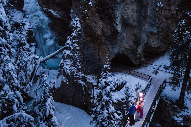 Johnston Canyon is one of Banff National Park's most popular hiking spots, but most people don't think to experience it at night. Your headlight (yours to keep after the tour) makes the frozen waterfalls shimmer as you hike along the suspended catwalk in quiet darkness. The evening icewalk is all about heightening your senses, appreciating the darkness, the scents of the fresh pine forest and enjoying the silence of a night spent beneath the stars as you follow your guide through this narrow, water-formed canyon.