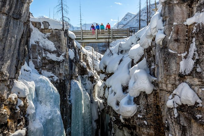 This half-day tour is an easy morning introduction to snowshoeing in Kootenay National Park where you can admire the dramatic colours of Marble Canyon, worn away over centuries by the rushing waters of Tokumn Creek. This small-group tour includes round-trip transportation from Banff, snowshoes, hot chocolate and a uniquely Canadian treat - hot maple taffy made in the snow by your guide.