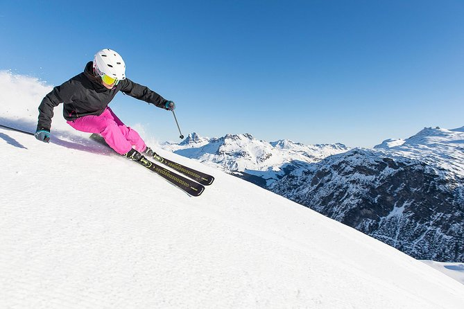 All mountain skis/snowboards utilizing the latest technology. Package includes skis/snowboard, boots, poles, helmet, and equipment protection plan.