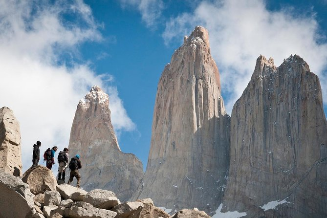 Discover the breathtaking beauty of the Torres del Paine National Park. Have your camera on hand as you pass an ever-changing landscape of glittering lakes, lagoons and glaciers. Enjoy a 19-km hike through a beautiful valley, an old suspension bridge and sparse vegetation, crossing streams and traversing woodlands to finally admire the outstanding view of the three towers (Central, Monzino, Dagostini). Rest and have lunch in this extraordinary and unique place and make a postcard to never be forgotten!