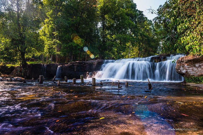Join a group tour to uncover the special religious significance and the natural beauty of Phnom Kulen Mountain, Cambodia's most sacred mountain, located 50 km north of Siem Reap city.  Learn why the site serves as a place of pilgrimage to both Hindus and Buddhists by visiting the temple of the Reclining Buddha on top of the big rock, the River of 1000 Lingas and the fabulous Phnom Kulen Waterfalls.