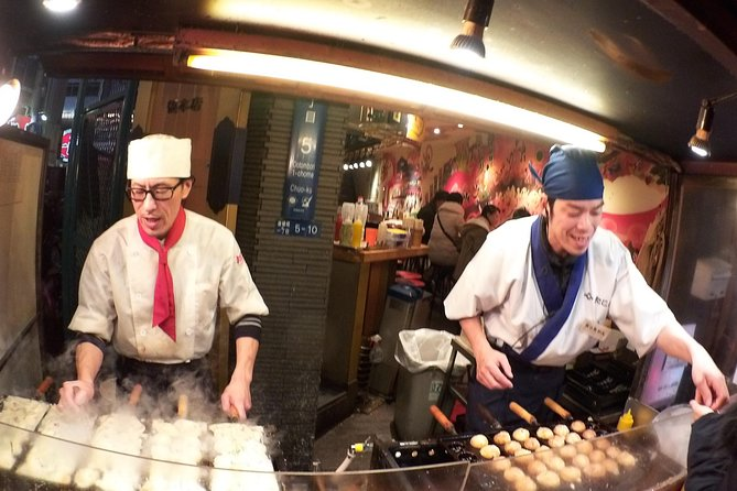 """Enjoy the best street food experience with a professional local guide on your private tour. Osaka, the city of merchants, is the place with the nickname """"the kitchen of Japan"""" since it has long been the center of the rice exchange market and was the logistic hub during the Samurai age. The unique atmosphere and culinary culture of Osaka remains unchanged even today after around 300 years. In the evening, neon billboards light up every corner of the city. You will have a chance to experience this local way of life as you hop around the street food stands and restaurants."""