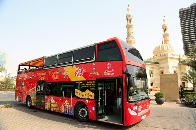 There is no better way to see Sharjah than on an open-top, double-decker City Sightseeing bus! See top Sharjah attractions on this comprehensive City Sightseeing tour, such as Al Qasba, Etisalat Eye of the Emirates Ferris Wheel, the Blue Souq and much more. Hop on and hop off as many times as you like at any of the21 stops around the UAE's third largest city to explore at your own leisure! Whilst you travel around this fascinating city, take full advantage of the recorded commentary on-board, accessible in several languages. Customers will also be able to enjoy fabulous inclusions, such as free entry to several attractions and museums - allowing you to get even more out of your sightseeing! With the 1 Day Premium Pass you'll have a 15 minute boat ride at Al Qasba, and entry to Al Noor Island and Butterfly House! The night tour ticket allows you to see Sharjah in a totally new way, when the sun has gone down.