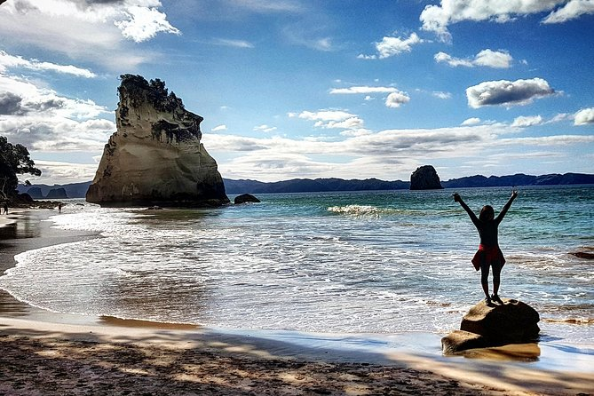 The Coromandel is a real Bucket List NZ destination!<br><br>This Day Trip includes the classic must do's of Cathedral Cove/Narnia and Hot Water Beach.<br><br>We give you 2 hours at Cathedral Cove, (time to explore, relax and swim if you choose)<br><br>We alter our itinerary daily so you'll be at Hot Water Beach as close to low tide as possible.<br><br>We provide shovels and help you to find the good places to dig your own natural spa. <br><br>We also include the Mount Paku summit climb which larger tours can't access, and is a real favorite.<br><br>Our day trips are small groups. (8 Max) plus a friendly guide to show you around. We go at a slow pace, and include time for lunch, so you can really enjoy, and soak up this beautiful part of the world. After a long day of epic views, and beautiful beaches we are sure you'll have a great night's sleep. Don't miss this once in a lifetime experience!