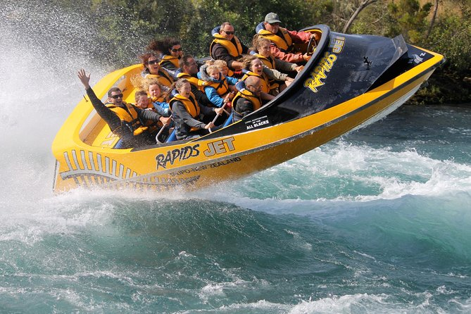 Enjoy a 35 minute Jet Boat ride on the Waikato River. The high-speed ride is guaranteed to get your adrenaline pumping. Shoot through canyons, spin on crystal clear waters and surf the foaming tail of the awesome Nga Awapurua Rapids. You have several tour times to choose from throughout the day and can be shared with maximum 11 people per boat.