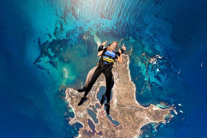 Skydive over WA's favourite holiday island, Rottnest and land right on the beach for an unforgettable experience. <br><br>TANDEMSKYDIVE WITH GERONIMO INCLUDES:<br>* Stunning flight to altitude over Rottnest Island with views of Perth City and WA coastline beyond<br>* Exhilarating up to 66 seconds of free fall time with your experienced Skydive Instructor<br>* 5 minute parachute ride with unobstructed views of the island<br>* Beach landing on one of Australia's most beautiful beaches<br>* A free beach side drink at Thomsons to celebrate (skydiving is thirsty work!)<br>* Share your experience instantly with your friends (requires optional video packages)