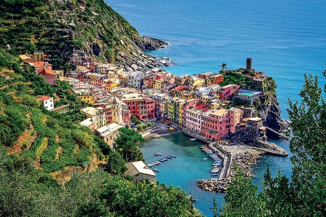 Spend a unique day visiting the stunning Cinque Terre and Portovenere. Explore the breathtaking Ligurian coast on a tour of Porto Venere and the Cinque Terre, a small corner of paradise subdivided into five villages suspended on steep cliffs overlooking the sea; a unique landscape, where vegetation and lush vineyards frame spectacular scenery.