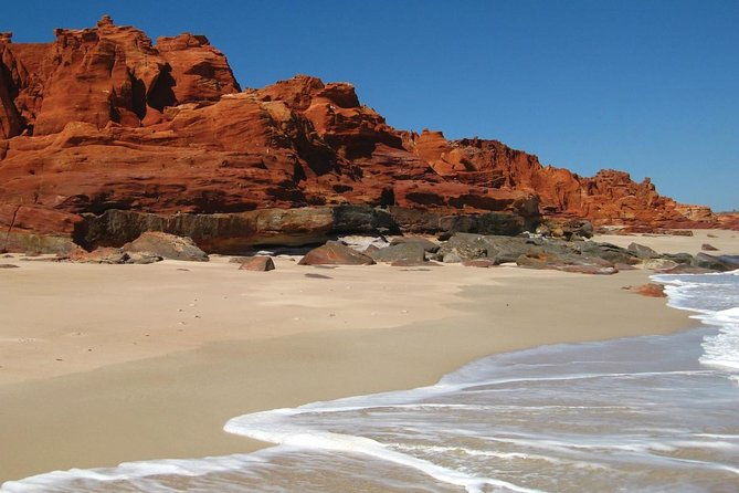 Take a trip to remote Cape Leveque, on the northernmost tip of the Kimberley region's Dampier Peninsula. Travel across country from Broome by 4WD, and experience a beautiful wilderness region of red cliffs, pristine white sand and turquoise sea, home to whales, turtles and sea birds. Choose the flight option to complete your full-day visit to Cape Leveque with a one-way trip back to Broome by scenic plane, and see extraordinary views over the Kimberley coastline.