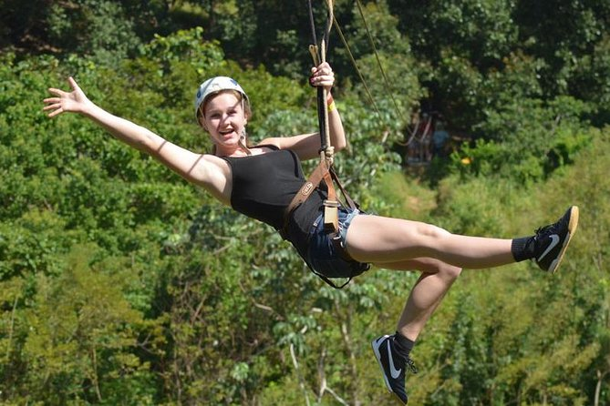 Experience and enjoy an adrenaline filled with excitement on your excursion, while zipping through and over the green lush jungle on the island, admiring blue ocean views from high above. On you zip line adventure you can do different flips, turns, and superman moves over the tree lines with nice panoramic 360-degree views. Following your zip line adventure is the monkeys & sloths sanctuary park for you to photograph and get close up with the animals before boarding your boat to head out to the blue channel to start your underwater adventure and be awed by the different color fish, coral and everything else you get to see around the reef while you snorkeling through some the islands blue ocean channels and drop off walls.<br>