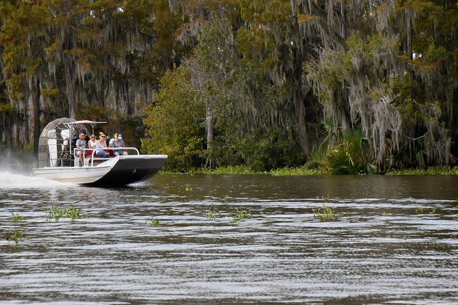 Take a break from the hustle-bustle of New Orleans and escape to nature on this exhilarating, family-friendly airboat ride! Spot alligators, snakes, turtles, egrets and herons as you take a fast, fun ride over a tidewater cypress swamp close to Jean Lafitte National Historical Park and Preserve. Admire moss-covered cypress and tupelo-gum trees as you explore bayous teeming with life and take advantage of incredible photo ops. <br><br>This small-group tour is limited to eight people (small airboat) or 25 people (large airboat) to allow for better views of the wildlife.<br><br>Please note: If you book the self-drive option you will not receive hotel pick up