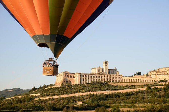 Join us for arguably the most beautiful balloon ride in the world!  Experience the ultimate activity in the Valley of Assisi, only a two hour drive from Rome and Florence.  The area is literally dotted with Roman and Medieval villages surrounded by vineyards and olive groves. A true fest for the eyes and the soul.  We are fortunate to take off in sight of one of the most revered sites in Italy: Assisi.  You will be in the best of hands: our pilot, Captain Peter is the most experienced balloon pilot in Italy.  Finish your experience on a high note with a wine tasting and a sumptuous Umbrian breakfast at Cantina Dionigi.