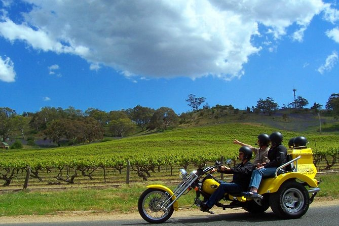 Turn heads and feel the wind in your hair on an exhilarating private motorcycle trike tour of the Barossa Valley. Enjoy the ultimate luxury, comfort and adventure as you sample the region's finest food, wine and sights on this customised tour. A regular sample itinerary includes 3 wine tastings, 1 food sampling and 1 lookout stop.