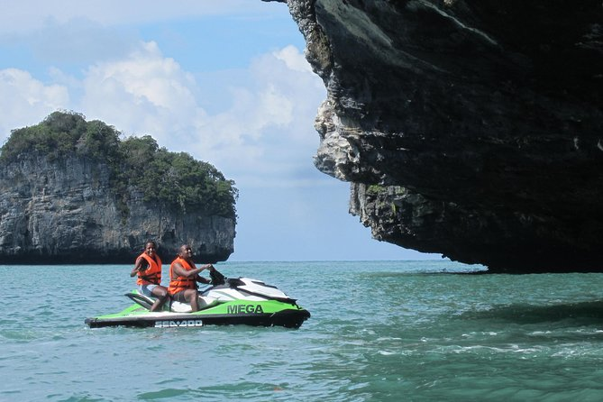 Visit eight islands in the Langkawi archipelago by Jet Ski. In your small-group convoy, led by an experienced guide, coast over to Pulau Dayang Bunting (Pregnant Maiden Island) for a short jungle trek and a swim in Malaysia's largest freshwater lake. Take in the stunning scenery where limestone outcrops dot the Fjords, watch eagles soar and stop to snorkel in the tranquil turquoise waters of the Andaman Sea. Choose a morning or afternoon departure, and if you want to ride single or double. <br><br>Numbers are limited to eight passengers to ensure a personalized experience.
