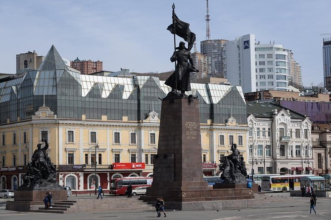 """Individual walking tour in Vladivostok for a group of 1-3 people. Together with an English-speaking guide you will walk along the Central Square of Vladivostok, visit the Ship embankment, a memorial to soldiers who died in the Second World War with the Eternal Fire and the chapel.Further we pass to the railway and sea stations. Vladivostok is the only city in Russia where these two stations stand side by side.<br><br>The maritime station stands on the shore of the Golden Horn. It is to him moored cruise ocean liners """"Princess"""" bringing thousands of tourists from all over the world."""
