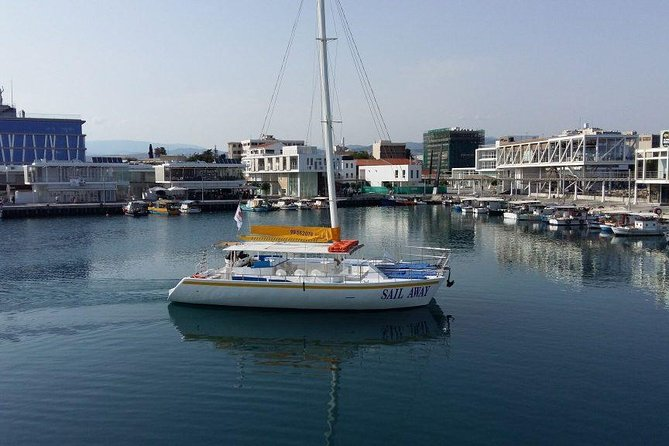 After hotel pick up, head to old port of Limassol to embark on a fun catamaran cruise. <br><br>As you head along the west coast of Limassol, enjoy the sea breeze on your face and admire the Limassol coastline. Cruise on the clear blue waters of the Mediterranean Sea in comfort. <br><br>Along the way you will be listening to soft music. During your first swim stop at Cape Gata, you may enjoy swimming and snorkelling for about one hour and a half. Also, you may simply bask in the sun. <br><br>Cruise back along Limassol coast towards the unspoilt beaches of Ladies Mile Beach, with a further two hours stop for swimming, kayaking and lunch. Served on board will be a buffet lunch. <br><br>Last drop off at hotels is at about 4:30pm.<br>