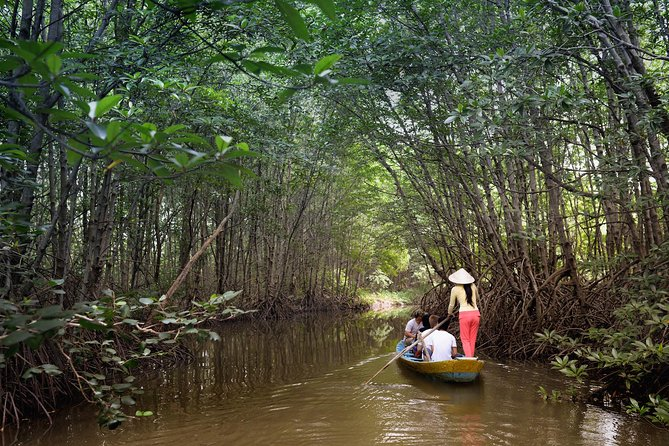 Take a scenic journey by luxury speedboat to the mangrove forests of the UNESCO-listed Can Gio Biosphere Reserve. This full-day eco-adventure takes you from Ho Chi Minh City past canals of the Mekong Delta, stopping at a lively riverside market. You'll explore Giant Bat Lagoon by rowboat, visit a crocodile reserve, trek through mangrove jungle, observe gibbons and monkeys, and enjoy bird watching with a knowledgeable guide. A chef serves a traditional Vietnamese lunch. Numbers are limited to 14 people, ensuring an informative experience with a small group.