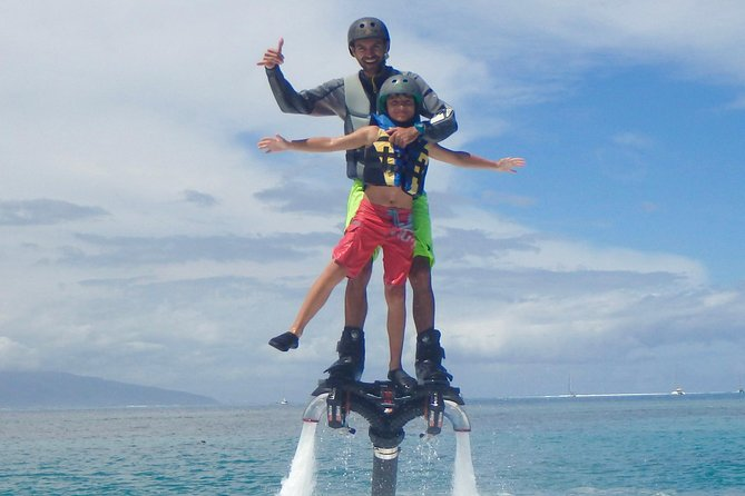 Moorea Watersport is a team of young professionals who wants to share their passions and give you a safe thrill. <br><br>All our activities are private with certified instructor, we are especially trained to fit all public.  <br><br>For those who'd like to try something fun and new we proposed Flyboard & Hoverboard for flying above the lagoon with a tahiti view. <br><br>and for those who'd like cruising or riding we invite you to discover unique privates excursion by jet ski all around the amazing lagoon of moorea.(1 or 2 persons per jet ski)  <br><br>We even propose tubing, for everybody ! <br>-pick up planned in advanced everywhere on the island (extra charge) <br>-openned all year around from 8.00am to 5.30pm, located right across from the ferries station next to the marina of VAIARE. <br>-add 20 minutes extra timing for equipment and briefing