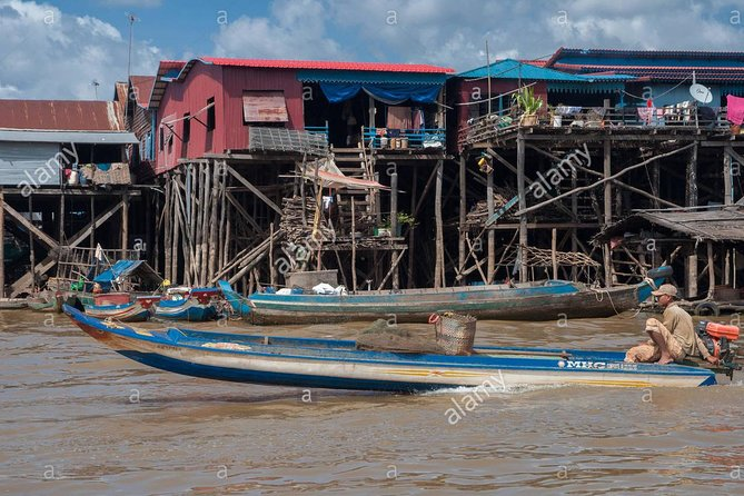 Discover Cambodian's traditional life on TonLe Sap lake by visiting the Kompong Phluk floating village. Kompong Phluk is a permanent community that has based its economy on fishing and is surrounded by flooded forest. During the dry season, you will be able to sight stilt houses rising up to 8 meters in the air while in the wet season, the water rises to within one meter of the edifices.<br><br>Embark with this private small group tours (maximum 12 persons) which will allow you to share not only your sightseeing experience but also sharing travel cost when visiting Kompong Phluk village.<br><br>This half-day tour will allow you to discover one of the most interesting floating villages that lie on the TonLe Sap lake. Have a high regard for people's living while you will end your tour admiring the sunset over this gigantic lake.
