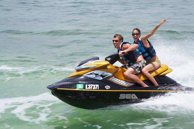 Feel the thrill of riding a Jet Ski on this guided experience in Ibiza. After a safety briefing, take to the water and spend an exhilarating 20 minutes zipping through the waves. Enjoy the paradise scenery of San Antonio Bay's beaches, and feel safe with an experienced instructor on hand to ensure you have a smooth and fun experience. Choose to ride solo, with a friend, or with your instructor. Numbers limited to eight people, ensuring a small-group experience.