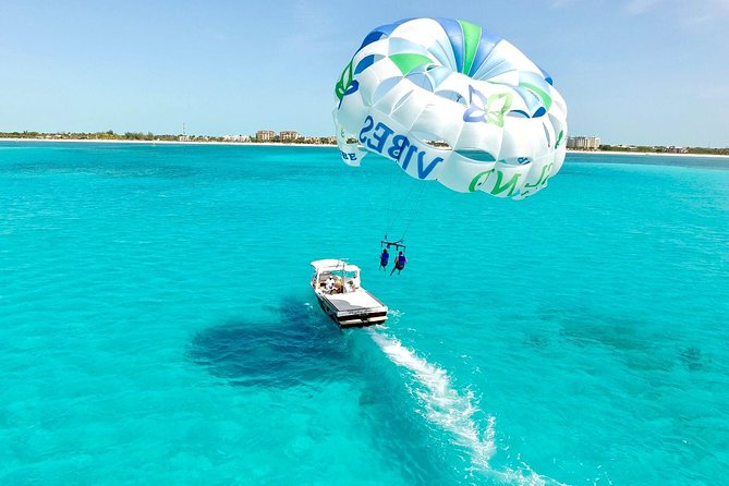 Fall in love with the ocean by exploring the island from above, below and on top. Fly high over the Azul waters of the Turks and Caicos Island, then hop in the ocean for a guided snorkel tour, swim through the water like a dolphin on our subwing or water scooter.<br><br>Amenities include:<br><br>Single, double and triple harnesses<br><br>Snorkel gear<br><br>Subwing towable<br><br>Turks Head beer, rum punch, assorted soda & water<br><br>Sandwiches<br><br>Bathroom<br><br>Bluetooth capabilities<br><br>USB port available to share your favorite tunes