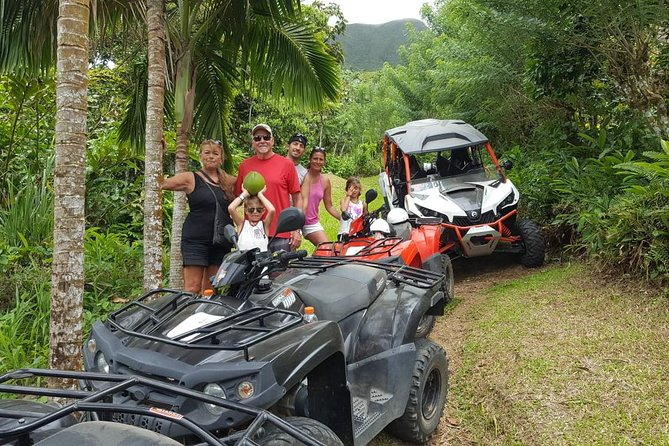 This tour is a fun filled on and off-road tour. Guests would experience the beauty of St. Kitts' Mountainous terrain, along with the unique sites of our little and charming towns. We have two tours available. Our first tour starts at 9:00am and our second tour starts at 12:30pm. Our tour duration is 2.5-hours of fun filled adventure. <br><br> We have a maximum of 10 ATVS,1 Can-Am Maverick Dune Buggy (4 seater) and 1 Can-Am Maverick Dune Buggy (2-seater) allotted for each Tour. Our guests have the option to combine both the ATVS and Dune Buggy for their tour. Guests can also choose to have ATVS or Dune Buggies only for their Tour. We request that guests notify us at the time of booking the number of ATVS and/or Dune Buggy desired. Each ATV is required to have a single rider, except when doubling with a child (ages 7-17). <br><br> Helmets and beverages are provided.<br><br>After booking, please contact Sunny Blue to let us know your desired selection (ATVS or Dune Buggies or Both). <br><br>