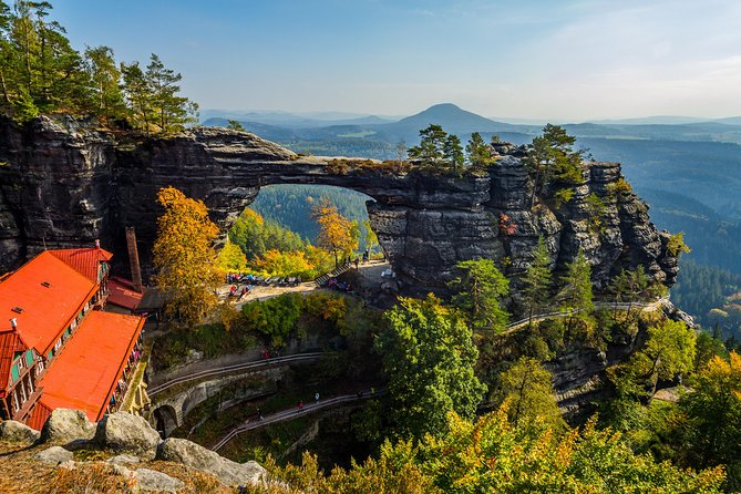 MOST POPULAR TOUR: Visit 2 countries in 1Day - Bohemian& Saxon Switzerland National Park - TOP Narnia movie spots only 2hrs drive from Prague! Explore beautiful city Hrensko, Pravcicka Gate (the biggest natural sandstonearchin Europe), Bastei Bridge in Germany, and sail on gondola-style boats through the soothing Kamenice river gorge. Enjoy SMALL GROUP TOUR (max 8ppl in comfortable minivan with freeWIFI).Explore the most photogenic natural creations of the Bohemian and Saxon Switzerland with our experienced English speaking local guide and take a romantic boat ride between sandstone formations. We are only company in the park, that provides you an extra transport between main hikes. You will safe 6 km and have extra time to enjoy main attractions. Delicious local cuisine in Hrensko - A la carte Lunch (main course and drink) is another highlight waiting for you in our unique restaurant (veg &vegan options too). Hotel pickup, drop-off, snacks, all fees and entries included.