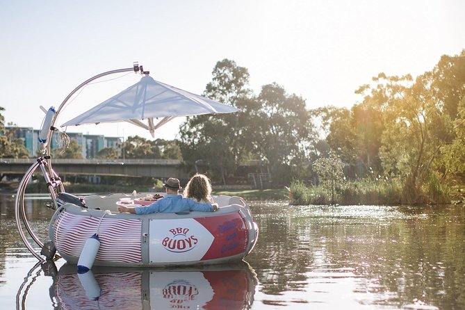 Imagine it's a sunny day and you and your loved one are having wonderful time on a donut-shaped self drive boat. You skipper along the picturesque Riverbank of the Torrens while enjoying an aussie barbecue or one of our amazing cheese and meat grazers combined with a local glass of wine! Maxin' Relaxin'