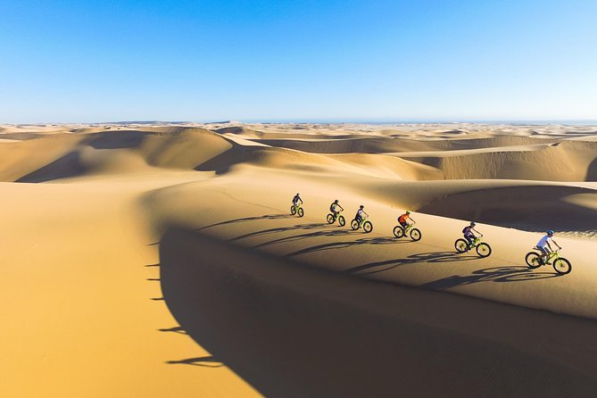 Join us on an unforgettable and unique ecological Namibian cycling experience.Feel the fresh coastal air, take-in the silence and breathtaking scenery of the oldest desert in the world while enjoying the thrill of cycling up and down Namibia's famous dunes. Guaranteed to excite and offer an unforgettable and unique cycling experience. A Swakopmund must for both the scenic appreciator and adrenaline seeking adventurist. No air or noise pollution and shallower tracks than even footprints makes Fat Bike Touring the most ecological way to explore our desert's delicate habitat.