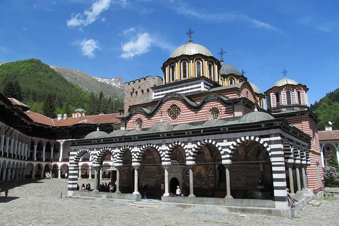 "Nestled in the imposing Rila Mountains Rila Monastery is the most famous landmark in the country, a spectacular UNESCO World Heritage Site. ""The Holy Rila Retreat"" founded in 10-th century is also the largest Bulgarian monastery and most visited tourist site in the country."