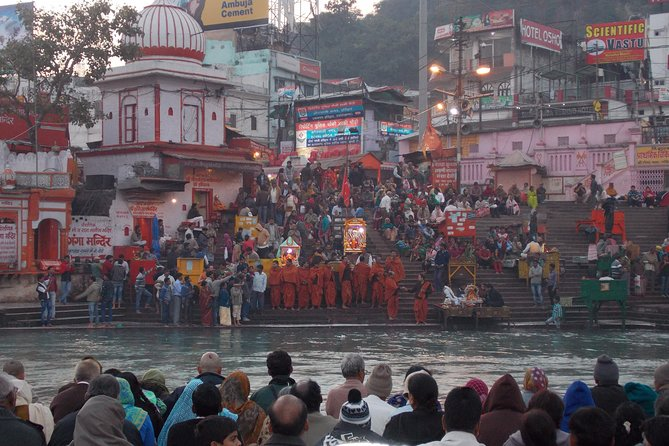 This full-day private tour of Haridwar takes you to points of interest with a personal guide. The customizable itinerary includes Bara Bazaar, Mansa Devi Temple (by cable car), Daksha Mahadev Temple, Jain Temple, and Shantikunj Ashram. In the evening, visit Har Ki Pauri to witness a Ganga Aarti, a ceremony that includes your own flower offering to the Ganges River and a 'puja,' or prayer ritual, led by a Hindu priest.