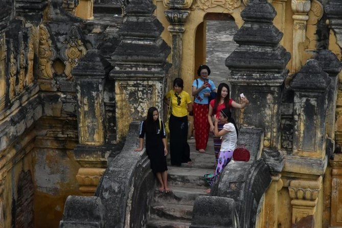 Enjoy a full-day trip to Ava, Sagaing, Amarapura (three ancient cities) and famous Mingun village by private car. A very beautiful sunset at U Bein bridge, Amarapurais placed at the end of trip. This trip is led by professional tour guide and lunch is included.<br><br>Mingun, the place of diverse and unique localities as well as the foundations for what would have been the biggest temple in the world.<br>Sagaing, with the jaw-dropping view of green hills crowned with white and gold pagodas, monasteries, and nunneries.<br>Inwa, once known as Ava, one that survived the longest with its rich history, is a remarkable country site with ruins, monastic buildings, and stupas.<br>Walk on the famous world's longest teak footbridge (U Bein) made with teak beams from a former Amapura palace and local traditional handmade weaving workshops nearby.<br>Charming historical monuments, religious sites, and traditional handicrafts in this trip are to get a clearer picture of Mandalay's ancient past.