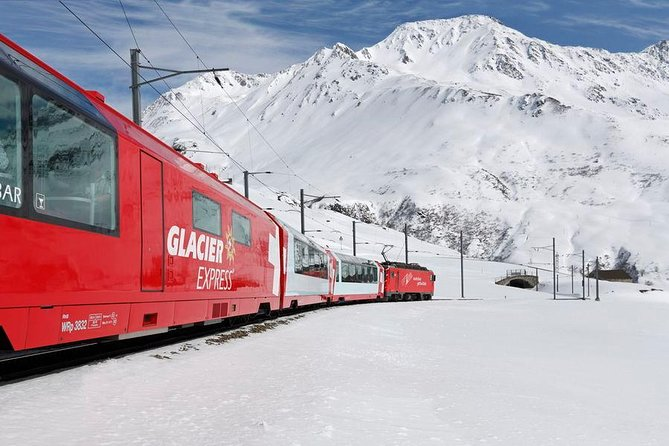 """Travel on the worldwide known """"Glacier-Express-Train"""" with your private tour guide, just you and your guide! Enjoy a round trip by train and spend four hours on the panoramic coach from Chur to Brig, crossing 291 bridges, passing 91 tunnels and climb up to approximately 7000 feet (2033m) above sea level by train. Passing spectacular valleys and mountains during your train ride. According your preferences, a short walk around in Chur or Brig can take place (while transfer times to/from Glacier Express)"""