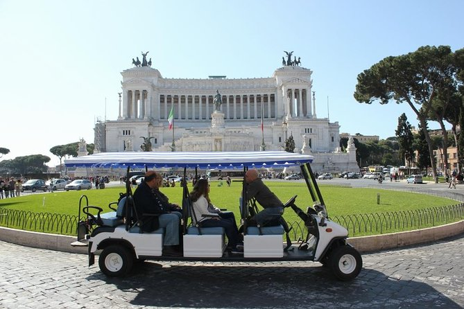 Explore Rome by golf cart and take in top attractions in style on this private 3-hour tour. Roll through the pretty streets by golf cart as a private guide brings Rome's rich history to life. Along the way, take in famous landmarks and hidden gems such as the Trevi Fountain and the basilicas of Santo Stefano Rotondo and Santi Giovanni e Paolo. Spin through bustling squares like Piazza Barberini and Piazza Colonna, and admire panoramic city views from Aventine Hill or Caelian Hill — two of the city's famous vantage points.