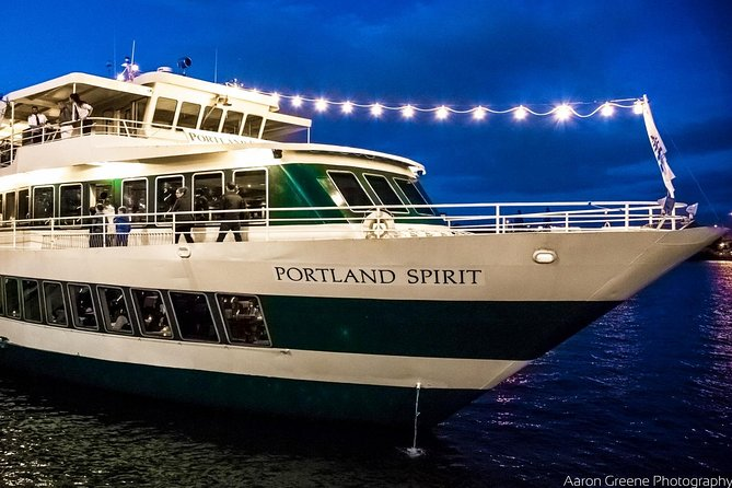 Live entertainment, delicious Northwest cuisine and amazing views provide the perfect ingredients for a Portlanddinner to remember. Whether it's a romantic dinner for two, a birthday party, or an office party with a twist, this two and a half hour cruise on the Willamette River is perfect for Portland natives and newcomers alike. <br><br>Portland Spirit public cruises boards at the Salmon Street Springs Fountain in Tom McCall Waterfront Park. The fountain is located in the park where Salmon Street meets Naito Parkway/Front Avenue.<br><br>Vessel is subject to change.