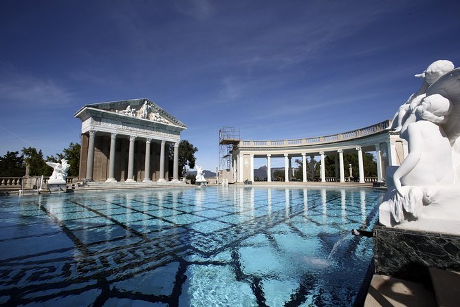 Enjoy the scenic views on this 8-hour, small-group tour to Hearst Castle. Once you arrive at Hearst Castle watch the National Geographic IMAX Movie, Building the Dream, and learn about the construction of the landmark. Then, take a tour of the castle to discover its many rooms and secrets. This tour includes pickup and drop off from Paso Robles, entrance fees, lunch, and a driver/guide.