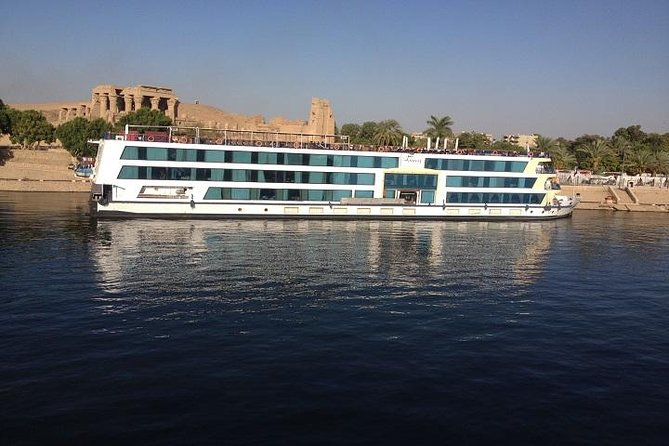 Spend 5 days relaxing on a leisurely Nile River cruise from Luxor on full board accommodation. Accompanied by your Egyptologist tour guide, you'll explore the wonders of ancient Egypt. All you need do is sit back and enjoy the scenery. The Nile cruise features a swimming pool with a sun-lounger terrace, opulent lounge and bar, reading areas and a discotheque. The luxurious cabins with panoramic views have en-suite shower room, individually controlled air-conditioning, TV, minibar, climate control and telephones. The restaurant offers a mix of local and international buffet-style cuisine. Guests can enjoy their drinks while soaking up the sun by the pool bar. Room service is available 24 hours.