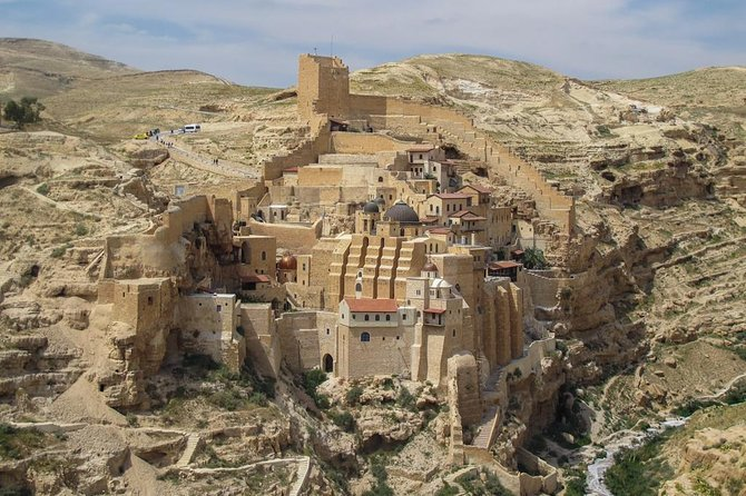 Enjoy a comprehensive overview of historic Bethlehem and around on this 8-hour private tour. You'll visit religious monuments, including St. George's Monastery, Mar Saba Monastery, the Church of the Nativity, the Church of St. Catherine, the Milk Grotto Shrine, the Cave of St. Jerome, and Shepherd's Field, where the angel appeared to the shepherds. Along the way, enjoy a falafel lunch and see some of Banksy's graffiti art.