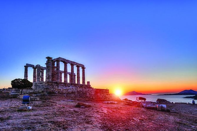 Experience a half day small-group trip with minivan along the picturesque south Attica coastal road and visit to the 5th century BC temple of Poseidon. Cape Sounion is a wonderful choice for a half day trip from Athens and is a world famous location to watch the sunset. The blue flag beaches are a popular attraction as well. Relax just a step away from the temple and enjoy your refreshment or wine along with breathtaking views of the Aegean.