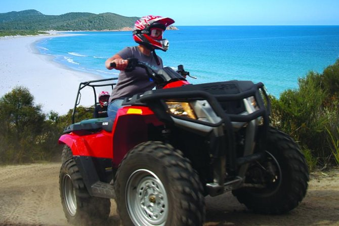 Explore the famous Freycinet National Park in Coles Bay during a 4-hour ATV tour. You'll experience the spectacular beauty of Cape Tourville Lighthouse, Bluestone Bay and the crystal waters of South Friendly Beaches as well as a great day of riding. Lunch is included. <br><br>Take an adventurous ride exploring the stunning white beaches and striking granite peaks of Freycinet National Park, allowing you to get right off the beaten path and thoroughly explore the spectacular Freycinet environment.<br><br>Cruise along bush tracks through native eucalypt forest and boulder strewn valleys for sweeping coastal vistas and views of secluded bays.<br><br>It's a family friendly, small-group tour, with professional guides and training to ensure it's an experience all can enjoy.