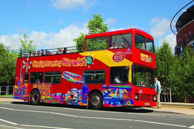 Join a City Sightseeing hop-on hop-off tour to discover the sights of Norwich, one of England's most historic cities. With your24-hour pass, explore Norwich by open-top, double-decker bus and enjoy panoramic views of the city's must-see attractions. Travel the entire45 minute narrated loop or hop off at any of the 9 stops along the route to explore the places that interest you! Top attractions along the route include Norwich Castle, Tombland, the Royal Theatre and Dragon Hall.