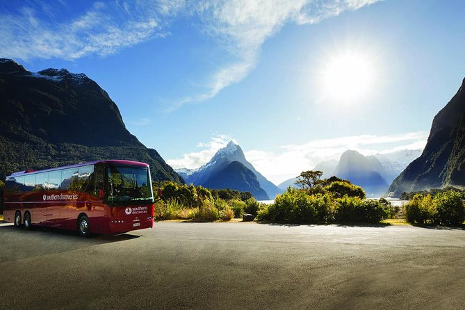 Journey in comfort on one of our brand new, low-emission coaches and take in incredible, panoramic views on the road to Milford Sound. Enjoy entertaining commentary, and let us show you the best stops along the way as you connect seamlessly to your Milford Sound cruise.<br><br>Discover native wildlife, towering waterfalls and majestic mountains on our extended Milford Sound Nature Cruise. Get within touching distance of impressive rock walls and close enough to feel the full force of the powerful 15,000-year-old Stirling Falls Waterfall. Specialist nature guide on board sharing their local knowledge with lively and informative commentary. <br><br>Freshly Packed Lunch included alongside FREE tea and coffee with a licensed bar on board.<br>