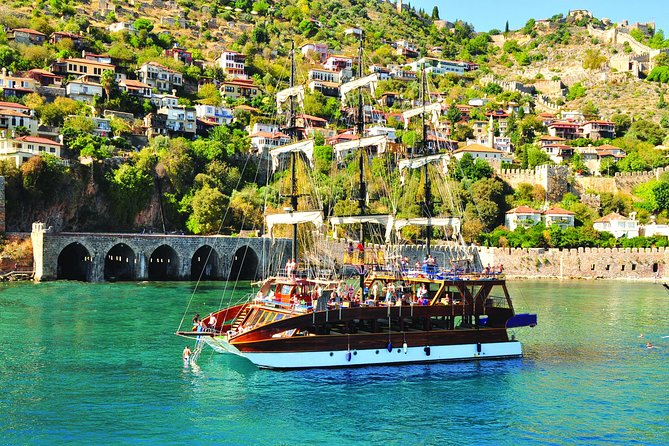 Alanya Tours& Excursions:<br><br> Relaxed Boat Cruises with great views of the stunning bays of Alanya, drinks and a great easy-going atmosphere.Our vehicles will collect you from your hotel and take you to the moored boat. The boat will leave the coast at approximately 10:00 setting sail towards the beautiful bays of the Alanya area.<br><br>Discover the famous sea grottos of the Phosphorus Cave, the Lover's Cave and the Maiden's Cave.This is where pirates used to imprison their female captives! From here the boat sails towards the new marina where you will stop for a sumptuous barbecue lunch.<br><br>The Alanya Boat trip is family friendly with stops at 4 different bays (Kleopatra, Ulaş, Paşa bay and Picnic Beach). Each swim stop lasts 30-40 minutes. In the late afternoon the boat will return to Alanya and guests are transported back to their hotels