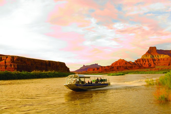 Imagine being whisked down river from Moab on the mighty Colorado. Gliding across the flat water with every bend of the river. The sun hiding behind the canyon walls, offering cooler temperatures. Along the 2.5-hour journey you'll discover petroglyphs, arches and beautiful scenery. Then your skillful guide will turn the boat around and head back to our private dock. Once back, you'll enjoy a tasty dutch oven dinner and have the beauty of the sunset for dessert. This truly is a trip of a lifetime.