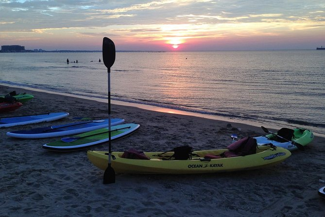Take a small-group guided dolphin kayak tour along the shores of the Chesapeake Bay at sunset to combine gorgeous visuals with epic dolphin experiences. Little or no experience is necessary to use our sturdy sit-on-top kayaks to explore the coastal waters of Virginia Beach and get closer to wild dolphins than you have ever been before. Guides will help you launch and navigate along the coast for 2-hrs while you relax and enjoy a magnificent view of the sun setting over the Bay.