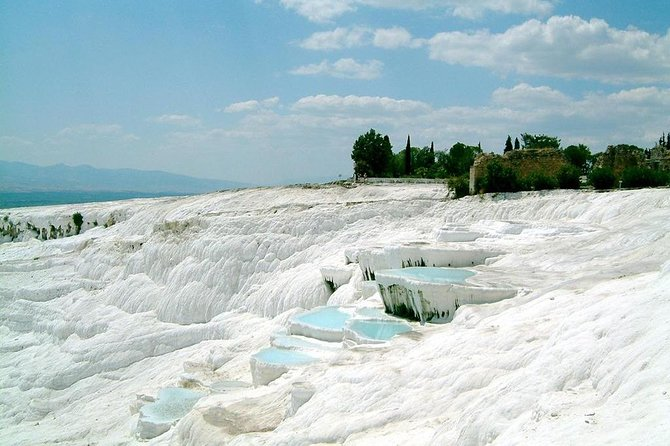 Visit miracle of the world – cotton castle of Pamukkale -whiteterraces, down of which the thermal water is flooding. Bathe in a thermal antique Cleopatra's pool and visit ancient Roman city – Hierapolis with theatre, temples and huge necropolis. All-day trip with two meals included in the price.