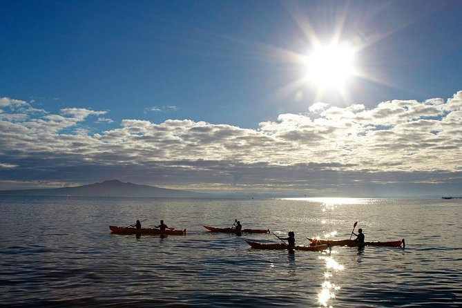Kayak to the land mark of the Auckland region while the sun is slowly setting over Auckland and the Waitakere Ranges. <br><br>We pull our kayaks up to Rangitoto wharf before embarking on a 1 hour leisurely walk to the summit where you will be treated to the best sunset location Auckland has to offer. <br><br>Under the guidance of your professional guide we paddle back in the dark watching the city lights sparkle like stars. <br><br>This tour is fully catered with all kayaking equipment provided.